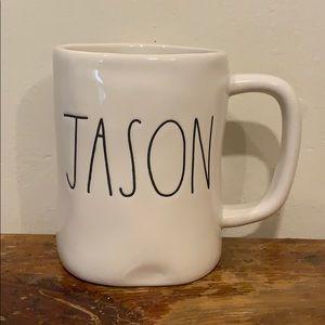 "Rae Dunn ""Jason"" Large Coffee Mug By Magenta EUC"